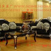 供应郑州欧式实木金箔银箔布艺沙发组合会所售楼处新古典沙发