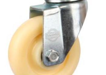 脚轮4寸中型白尼龙轮刹车脚轮图片