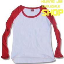 供应女装空白红色插肩长袖T恤厂家批发190克精梳纯棉女装批发