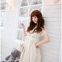 两件包邮2011夏装新款韩国女装甜美短袖蕾丝连衣裙配腰带批发