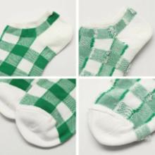 供应新款男式格子船袜/方块短袜/全棉