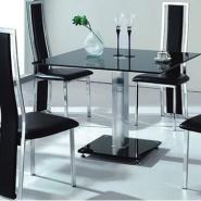 黑色经典四人现代玻璃餐桌餐椅图片