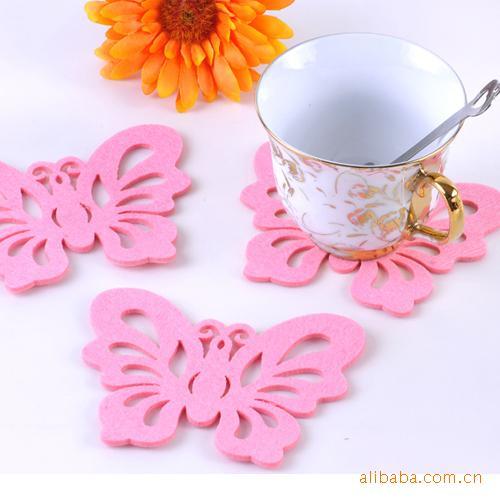 供应时尚精彩彩色毛毡杯垫,彩色毛毡制品杯垫-河北 精美杯垫 红粉绿色