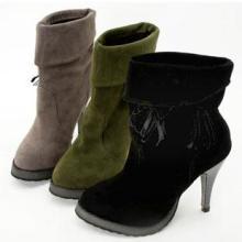 供应2012新款韩版高跟女靴单靴木纹细高跟设计麦穗装饰淘宝热销款批发