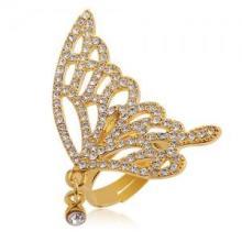 供应新款甜美可爱蝴蝶开口水晶戒指批发,水晶蝴蝶戒指生产厂家批发