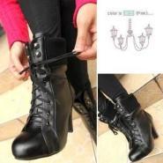 秋冬季马丁靴粗跟高跟女鞋中筒短靴图片