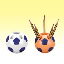 供应足球笔筒塑料足球笔筒牙刷架 足球型牙具座 办公用品 广告笔