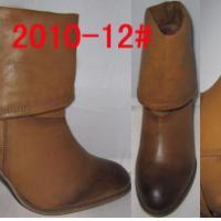 外贸库存擦色低筒粗跟高跟女棉靴