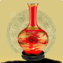 供应中国红瓷器 醴陵红瓷 花瓶高档 礼品家居摆
