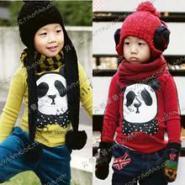 2012春装韩版新款熊猫领结男女童装图片