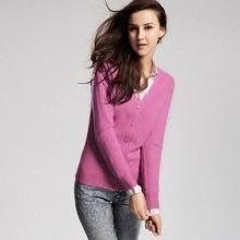 高品质纯羊毛V领开衫 女 桃红色
