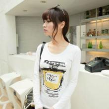 韩版修身百搭圆领女士打底衫创意T恤女长袖批发