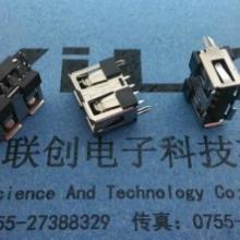 供应A母USB短体180度DIP插板+母座 两脚鱼叉固定
