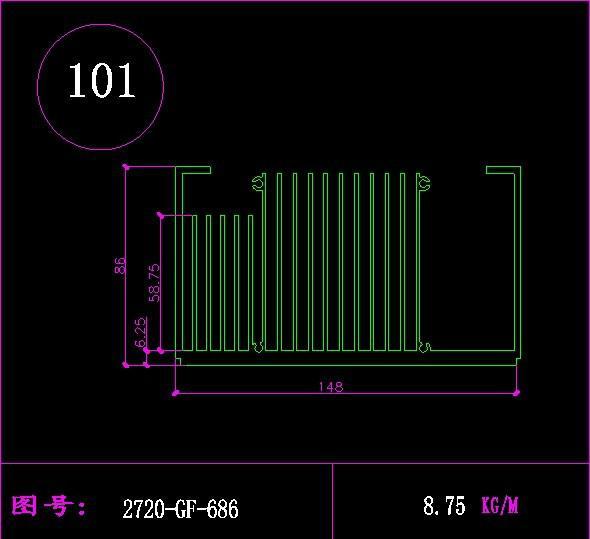 供应梳子型散热器CAD设计图