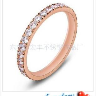 满钻玫瑰金戒指图片