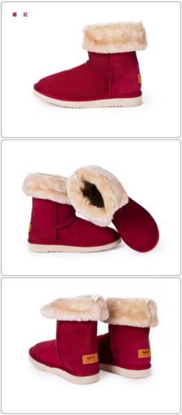 温克/冬季保暖加厚可翻折雪地靴/防滑中筒女雪地靴/两穿雪地靴