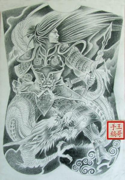供应常山赵子龙纹身图案石家庄洗纹身图片大全