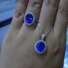 供应经典款戴安娜王妃款坦桑石戒指吊坠套装