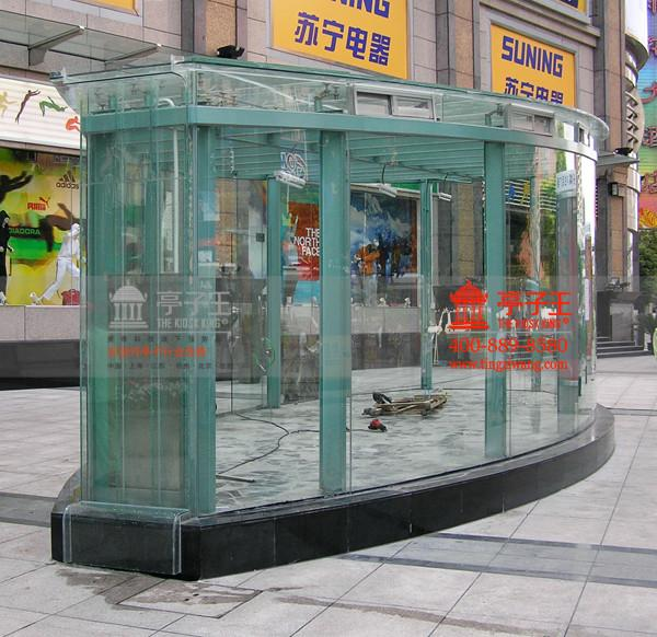 供应上海治安岗亭保安岗亭12mm钢化玻璃岗亭