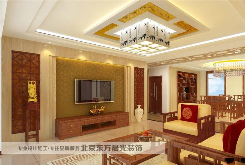 现代中式客厅装修供应商       天花以木条相交成方格形,上覆木板,也图片