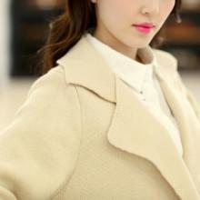 供应2014最新款外套长款针织衫报价韩版宽松撞色西装领毛衣批发