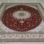 古典中国红真丝手工打结客厅地毯图片