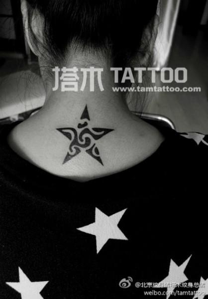 镂空五角星纹身图片大全