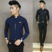 男装韩版休闲纯色长袖衬衫图片