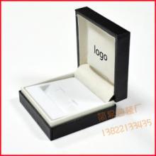 供应定制正方形黑色充皮纸塑料袖扣盒批发