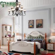 美式乡村家具白色主卧地中海风格床图片