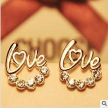 供应哪里有耳钉耳环出售新款高档闪钻love字母耳钉耳环批发