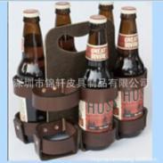 订制头层皮6支装红酒真皮支架篮图片