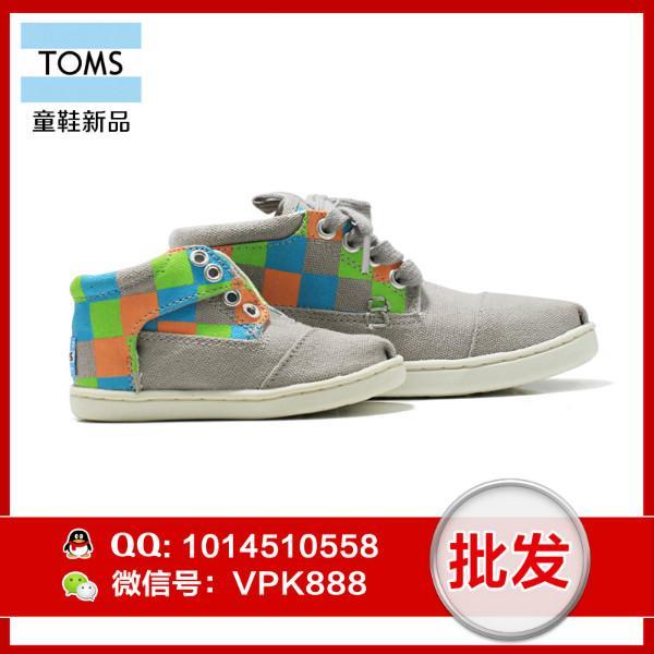 供应toms男童鞋 正品间隔纹高帮系带大童小童帆布鞋