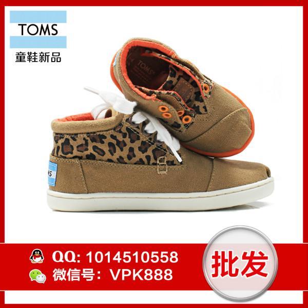供应toms系带女鞋 正品棕色豹纹高帮帆布童鞋