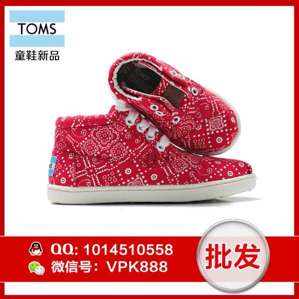 供应toms女童鞋 正品红色新奇羊毛印花边大童小童帆布鞋