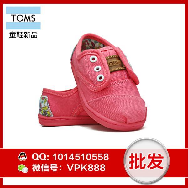 供应toms儿童布鞋 正品粉色墨花系带女童鞋尺码T6--T11