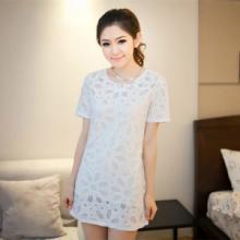 供应2015夏季新款女装韩版百搭镂空短袖裙子蕾丝花朵连衣裙