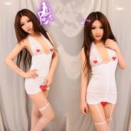 供应女式吊袜女式蕾丝吊袜带露乳挂脖白马甲怎样选购情趣内衣睡衣价格