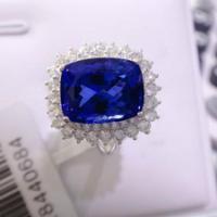 供应天然长方枕形坦桑石镶嵌18K金镶钻豪华坦桑石戒指