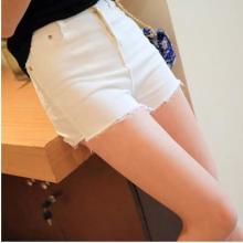 2015春夏新款女牛仔短裤白色韩版学生高腰大码牛仔裤弹力毛边修身批发
