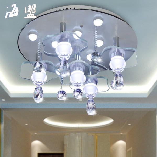 新款圆形led水晶灯客厅灯餐厅吊灯图片大全