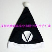 供应黑色绣花圣诞帽 企业logo圣诞帽定做 厂家生产加工高档外贸圣诞帽子