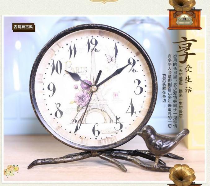 供应家之炫欧式复古写意台钟铁艺烤漆座钟!型号T1116