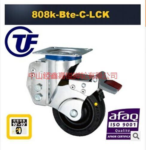 供应TF3寸4寸5寸高弹力带弹簧刹车脚轮-中山高弹力橡胶轮价格-高弹力报价