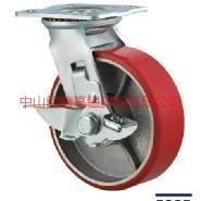 TF重型红色铁心PU聚氨脂边刹车脚轮图片