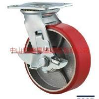 供应TF重型红色铁心PU聚氨脂边刹车脚轮-专业生产不会脱胶的铁心PU脚轮