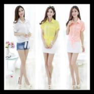 2015夏季韩版女装短袖雪纺衫衬图片