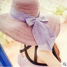 供应2015帽子女士韩版夏天遮阳帽棉麻蝴蝶结大檐草帽沙滩帽可折叠帽子批发