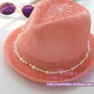 韩国进口糖果色珍珠卷边针织小礼帽图片