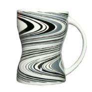 创意细收腰陶瓷杯子素雅异型水杯图片
